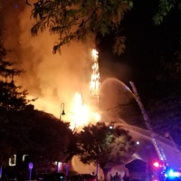 Fire at the First Baptist Church at 8 Lafayette Street, Wakefield, Mass.