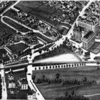 Aerial drawing of Cyrus Wakefield Estate, Wakefield, Mass.