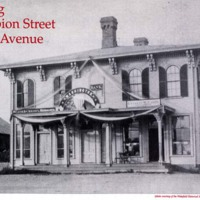 Bank building, corner of Albion Street and Railroad Avenue, circa 1868