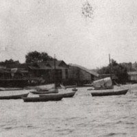Boat house and ice houses, Lake Quannapowitt, circa 1906
