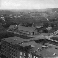 Car barns and power house, Water Street, corner of Valley and Melvin Streets, circa 1895