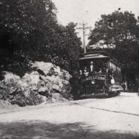 Electric car coming from Lynn, Water Street near Brook Street, late 1890's
