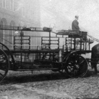 Horse drawn ladder truck, Wakefield rattan factory, 1900