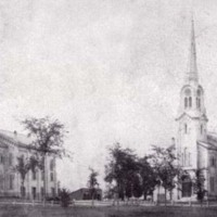 Stereograph of the First Parish Congregational Church circa 1880s