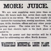 Wakefield Municipal Light Plant, September 9, 1905