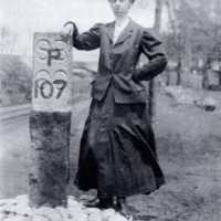 Railroad marker, Cooper Street bridge, circa 1910