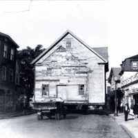Moving of the Cutler barn, Albion Street, July 15, 1948