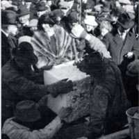 Laying of the Beebe Library cornerstone, March 17, 1922