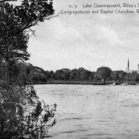 Lake Quannapowitt, Wiley's boat house, Congregational and Baptist churches, Wakefield, Mass.