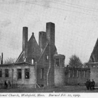 Ruins of Congregational Church, Wakefield, Mass., burned Feb 21. 1909