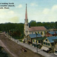 Main Street looking north showing Universalist Church, Wakefield, Mass.