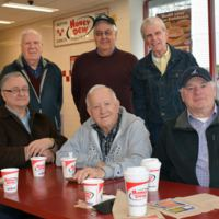 Morning Coffee Break.  Standing, Al Campedelli, Lenny Belliveau, Bill McGeorge.  Seated, Neil Belleveau, Al Boudrow, Joe Dow