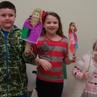 Puppeteers Brendan, Shayna and Abbie at the Temple Tifereth Israel Religious School