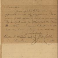 Note written by George Washington Cable, 1888