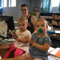 Twins Harper and Addison at the Library.
