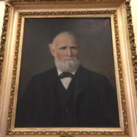 Photo of a painting of Mr. Morrill Frost (Feb 2, 1824-1897).  The painting is on display in the Basch room of the Winthrop Public Library and Museum